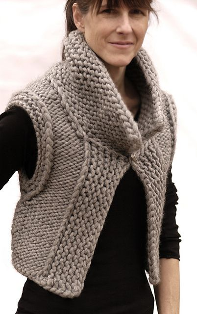 Ravelry: the October Vest pattern by Karen Clements  Made 2 of these, they turn out great and are fun and easy to knit.