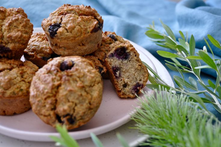 Blueberry Zucchini Muffins No refined sugar Lunchbox friendly