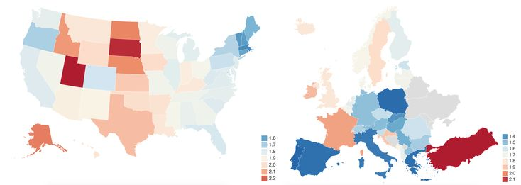 Total Fertility Rate of the US vs Europe