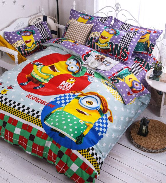 Cute Pikachu Bedding Set Pokemon Minions Hello Kitty 3-4pcs Cartoon Duvet Cover Bed Sheet Pillowcase for Kid Adult Free Shipping