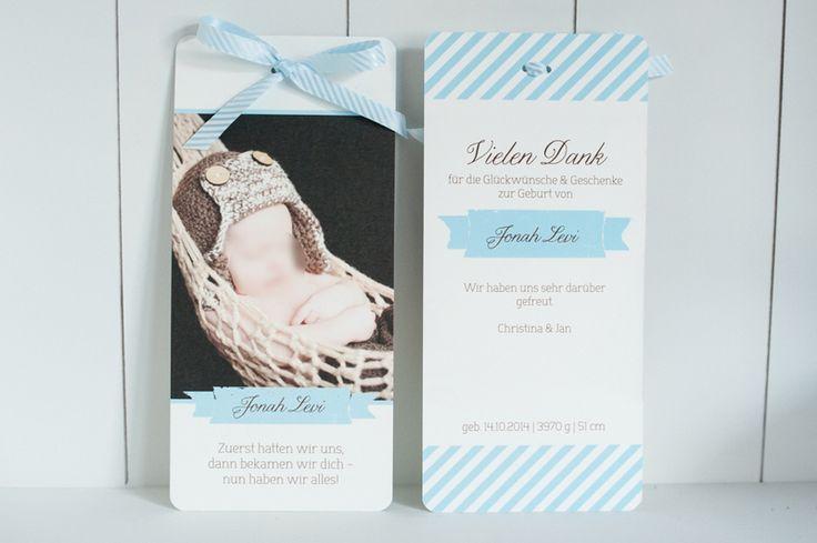60x Baby Dankeskarte Newborn Blau von Schneider's Family Business auf DaWanda.com