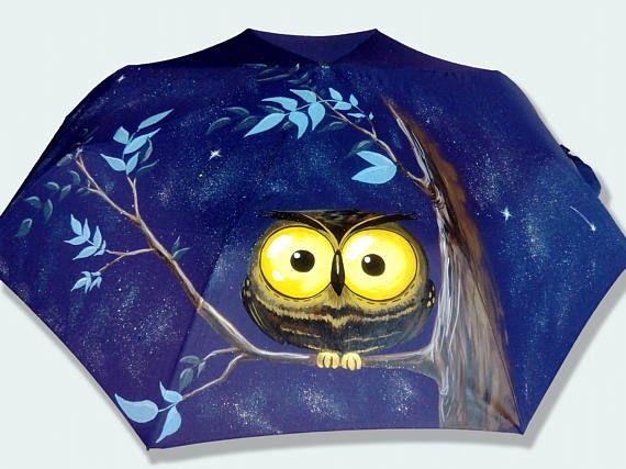 Umbrella owlbird hand-painted semi-automatic