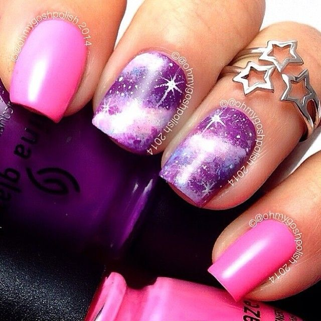 Pink and Purple Galaxy Nails