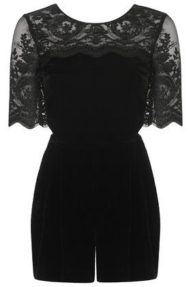 Topshop Lace Velvet Playsuit in Black #style