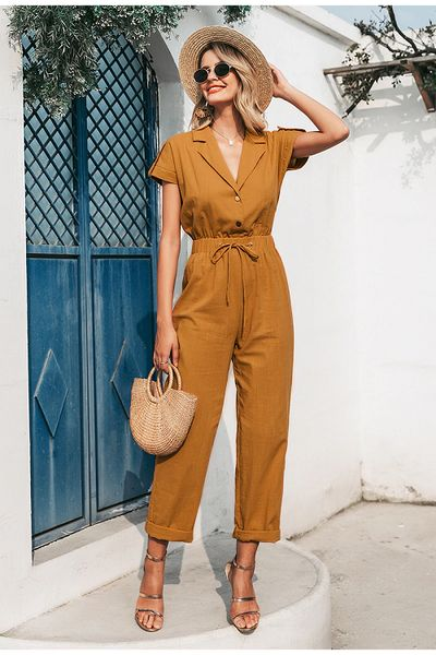 Casual high waist lace up buttons wide leg jumpsuit Boho Jumpsuit, Casual Jumpsuit, Playsuit Romper, Jumpsuit Outfit, Long Jumpsuits, Playsuits, Jumpsuits For Women, Style Hippie Chic, Spring Summer