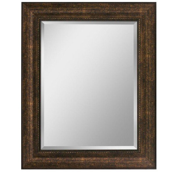 Add a focal point to any room with this copper beaded bronze framed mirror. Profile frame with beaded lip. Beautiful beveled mirror elegantly in a rich frame. The perfect complement and size for vanity and entry applications.