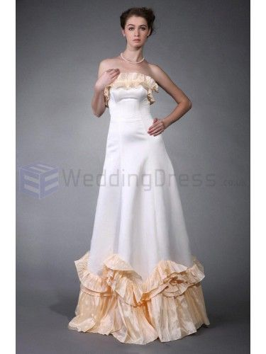 A-line Strapless Satin Taffeta Floor-length Wedding Dress with Ruffles