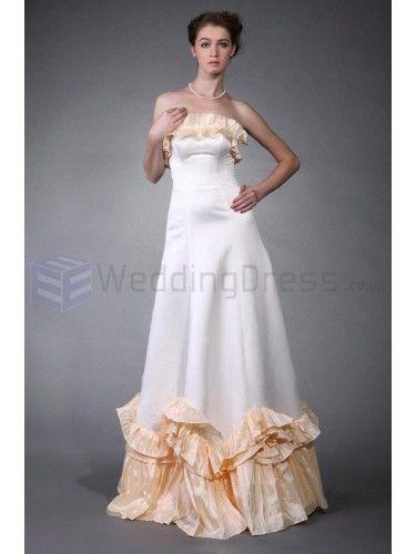 A-line Strapless Satin Taffeta Floor-length Wedding Dress with Ruffles