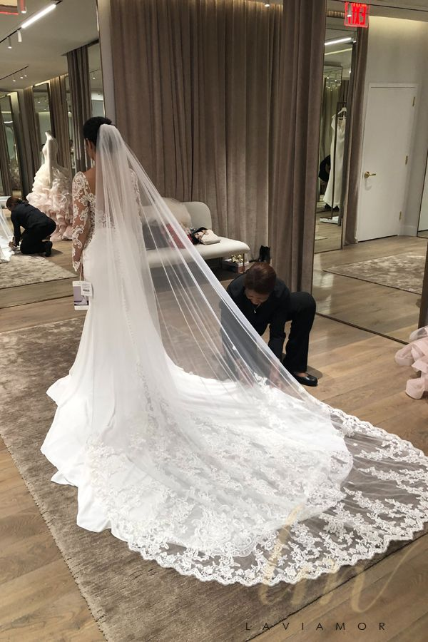 Gorgeous Cathedral Bridal Veil With Scattered Lace Applique Tsdz019 Cathedral Bridal Veils Bridal Veils And Headpieces Wedding Veils Lace