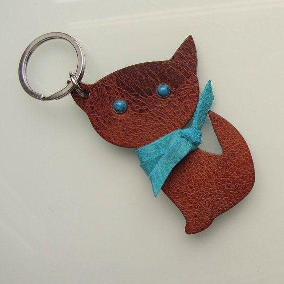 Leather keychain / keyfob / bag charm Kitten by RinartsAtelier