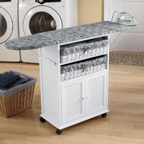 2-Basket Cottage-Style Ironing Board from Seventh Avenue ®, wondering if hubs could make something like this with a microwave cart and ironing board?