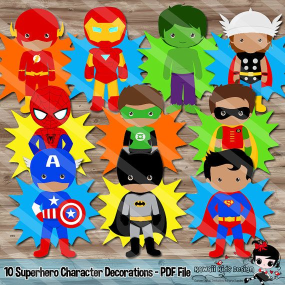 Superhero Birthday Party Supplies Diy by KawaiiKidsDesign on Etsy