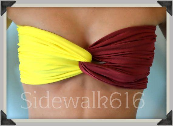 Maroon and Gold Bandeau Top Spandex Bandeau Bikini by Sidewalk616, $20.00