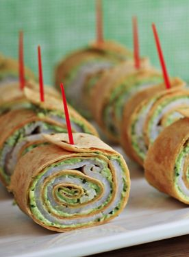 Pesto tortilla pinwheels make a great party appetizer!