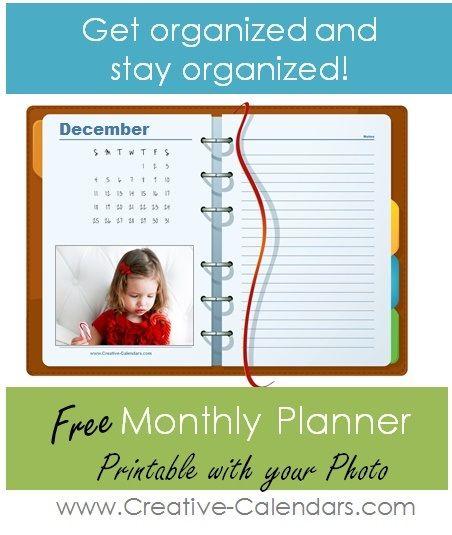 planificateur mensuel avec photo.  Ajoutez votre propre photo avec le fabricant de calendrier en ligne.