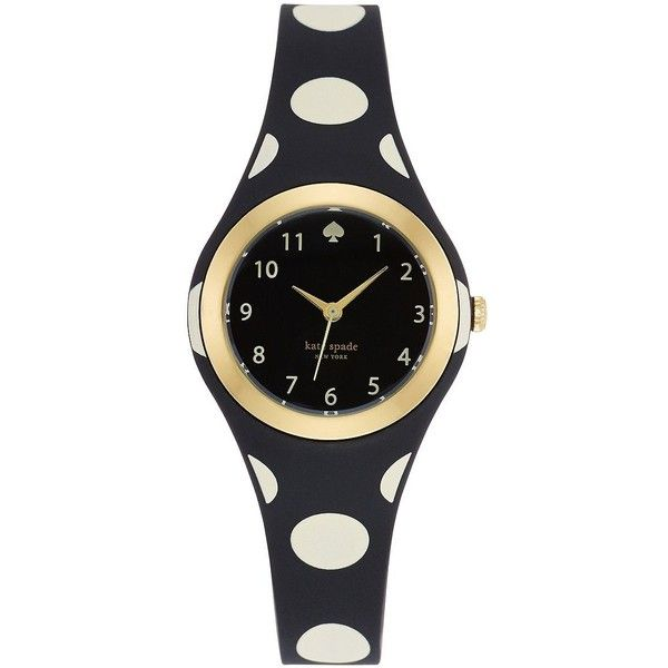 Kate Spade New York Women's Ladies Rumsey Polka-Dot Watch ($112) ❤ liked on Polyvore featuring jewelry, watches, black, kate spade watches, plastic watches, kate spade jewelry, bezel watches and polish jewelry