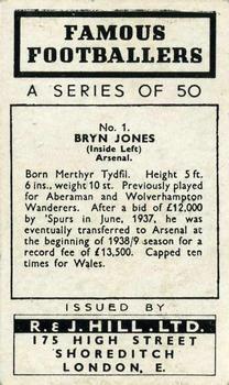 1939 R & J Hill Famous Footballers Series 1 #1 Bryn Jones Back