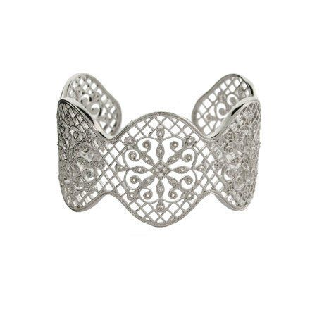 Glamorous CZ Vintage Design Sterling Silver Cuff Bracelet Eve's Addiction. $345.00. Approximate Weight: 36.9 grams. TCW: 1 carat. Metal Finish: rhodium-finished-sterling-silver. Save 13% Off!