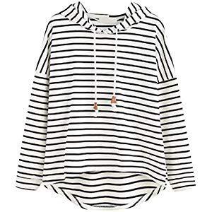 ROVNKD Crop Tops Blusen DamenEuropäische Und Amerikanische Frauen Neue Gestreifte Unregelmäßiger Rand Kapuzen-Sweatshirt #Spielzeug #Spiele #Spielz…