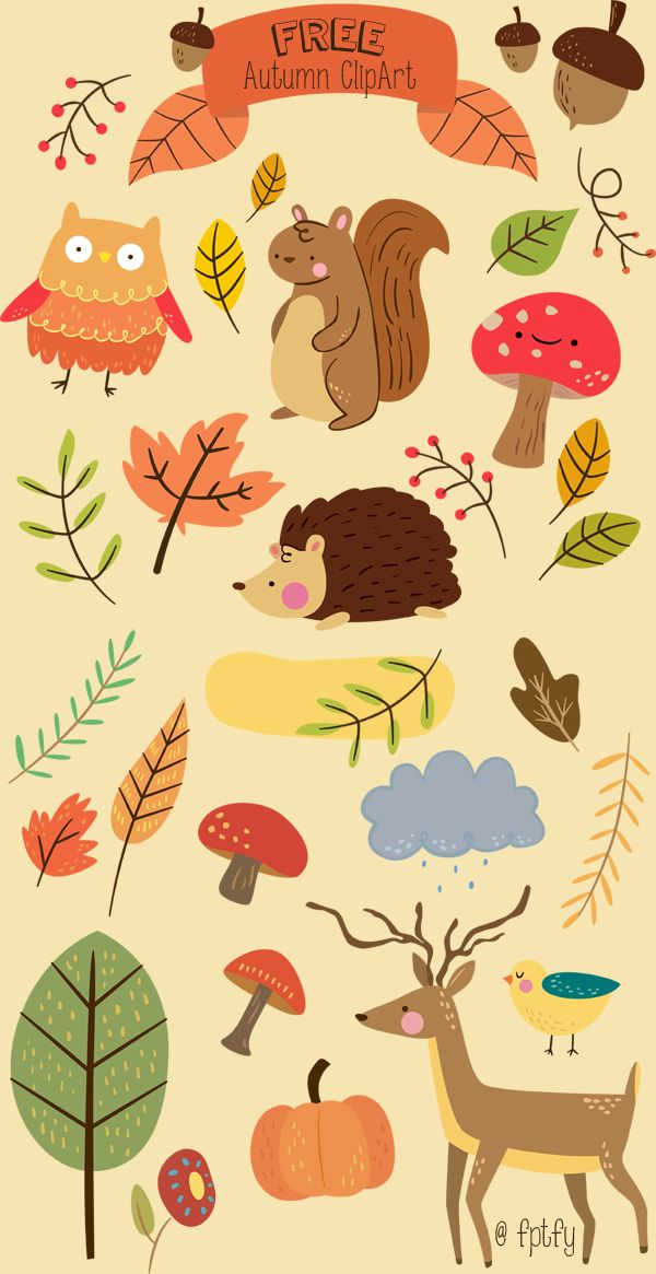 Free Critter Autumn Planner Stickers and Clip Art! - Free Pretty Things For You                                                                                                                                                                                 More