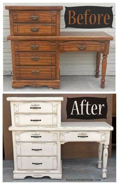 refinishing bedroom furniture ideas. chest with a desk in distressed off white before u0026 after refinishing bedroom furniture ideas