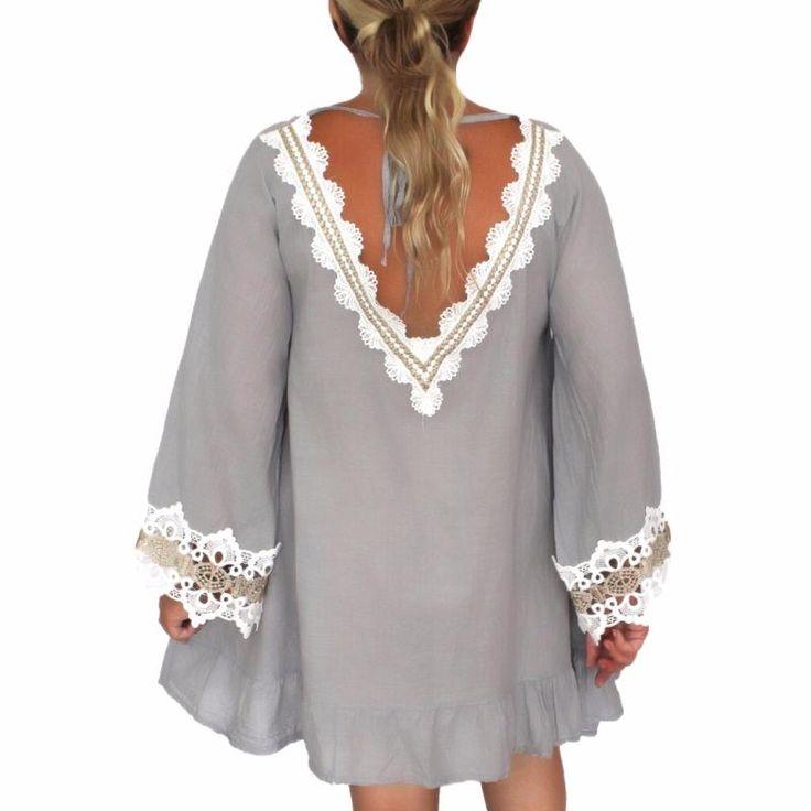 Robe tunique boheme blanche