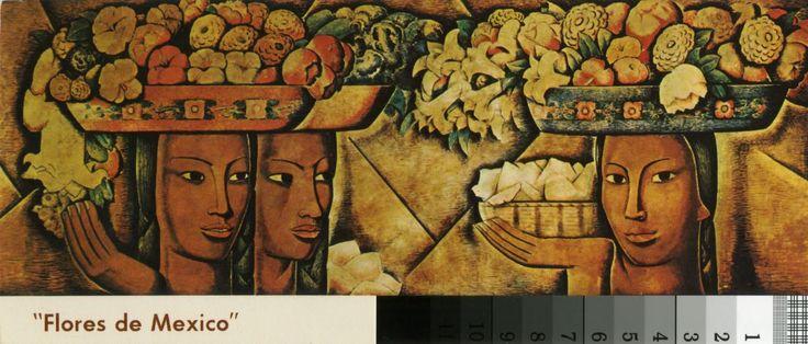 Flores de Mexico mural by Alfredo Ramos Martinez (postcard)