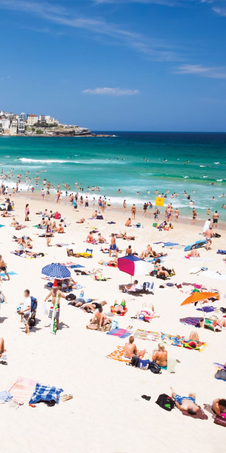 Warm summer days over the Christmas period in Australia. A typical day down on Bondi Beach, NSW.