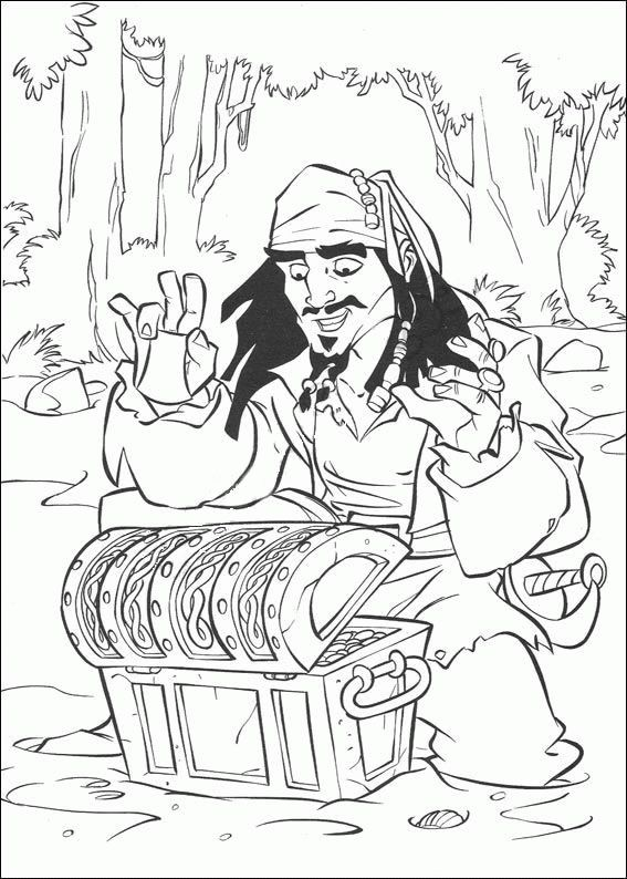 jack sparrow finds the treasure chest coloring kids pirates of the caribbean cartoon coloring pages