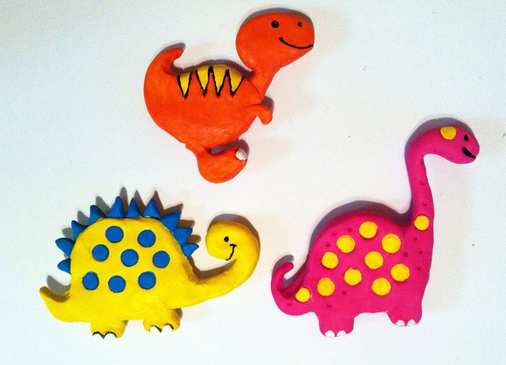 Colorful Polymer Clay Dinosaur Magnets By Indybindi On