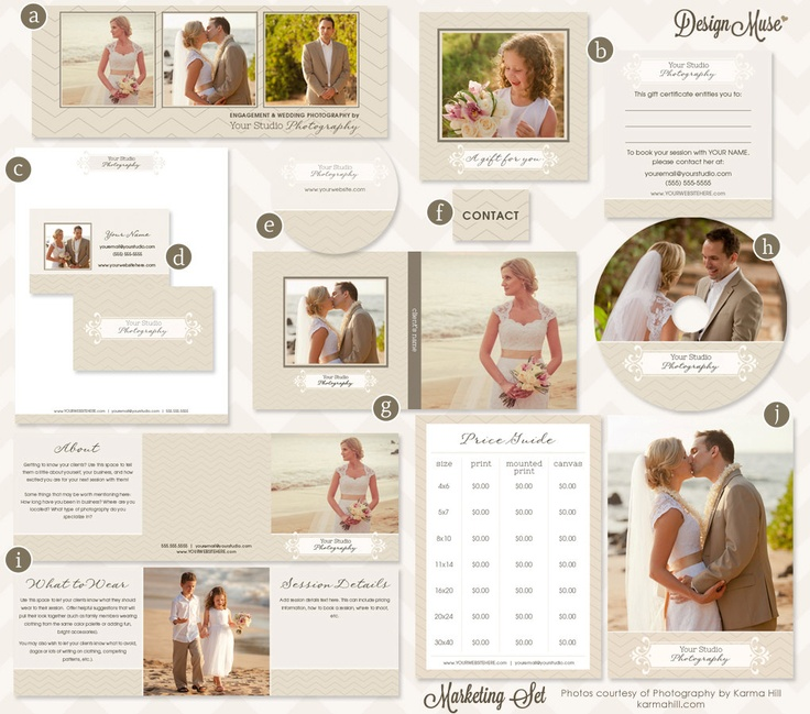 Photography Marketing Template Set includes CD Cover, Gift Certificate, and more - Mocha Cream - INSTANT DOWNLOAD. $38.00, via Etsy.