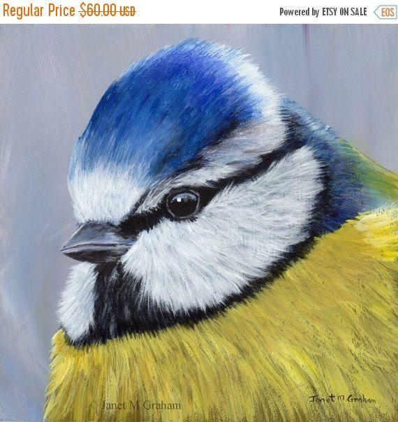 VENTA azul Tit aves Art Wildlife SFA pájaro retrato - pintura de acrílico pájaro australiano artista Janet M Graham pintado a mano Original