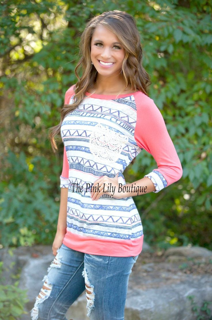 Wait For Me Coral Aztec Blouse - The Pink Lily Boutique