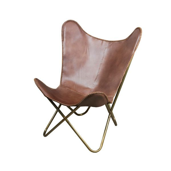 Brown Leather Butterfly Chair Sessel Stuhle Leder