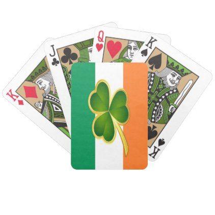 Flag of Ireland Clover Bicycle Playing Cards - st patricks day gifts Saint Patrick's Day Saint Patrick Ireland irish holiday party