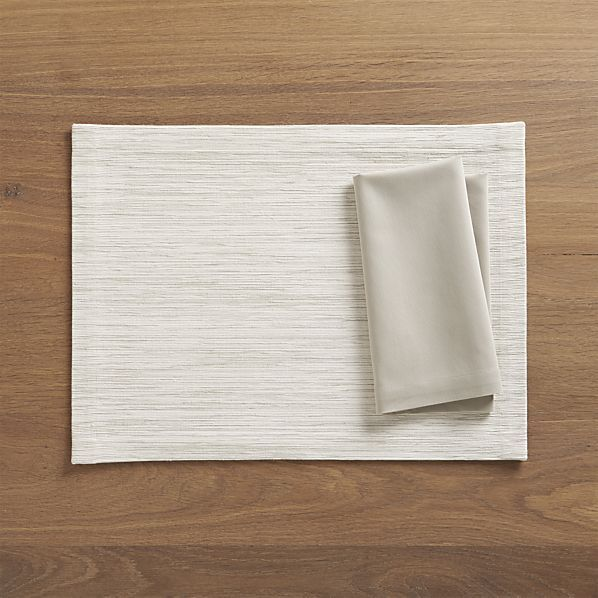 Grasscloth White Placemat and Fete Dove Cotton Napkin  | Crate and Barrel