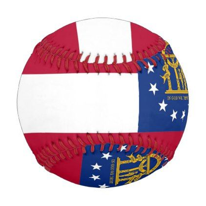 Patriotic baseball with flag of Georgia USA - kids kid child gift idea diy personalize design