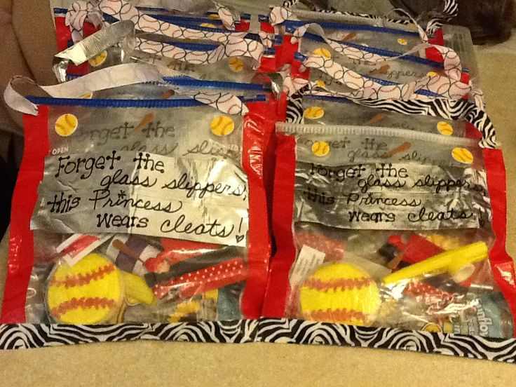 Cute goodie bags we made for our tournament! Gallon size zip-lock baggies and duct tape! Filled them with sunflower seeds, softball cookie, hair ties, bubbles, etc. Hope the other team likes it!!!