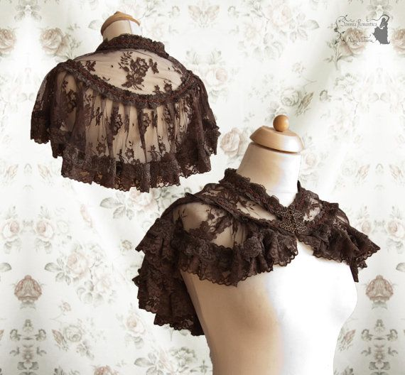 Capelet, Steampunk Victorian, brown lace romantic shrug, mori, Somnia Romantica, size free see item details for measurements by SomniaRomantica