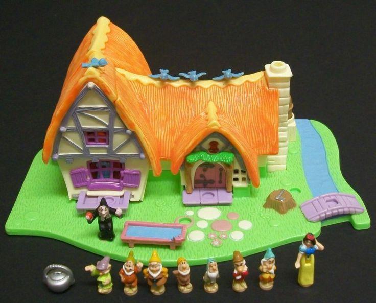 Vintage Disney Polly Pocket - Snow White`s Cottage, 100% Complete Set. #BluebirdToys