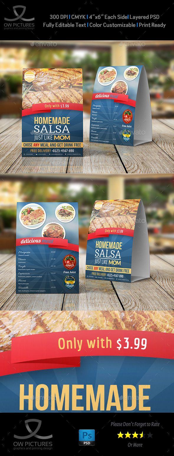 Restaurant and Cafe Table Tent Template Vol2 & 46 best Table Tent Design images on Pinterest | Food menu template ...