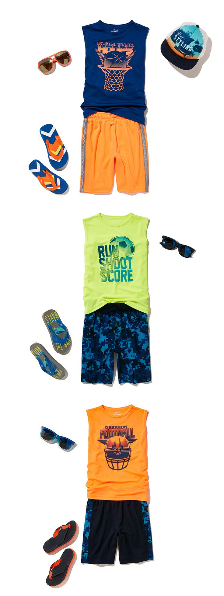 Boys' Clothing | Kids' Outfits | Active Wear | Graphic Tank | Printed Knit Shorts | Flip Flops | Sunglasses | Hat | The Children's Place