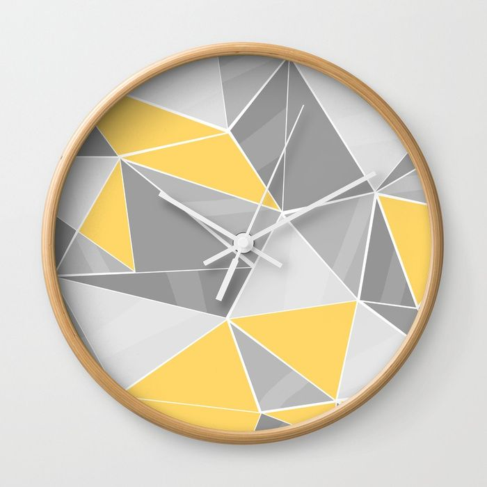 Buy Pattern, grey - yellow Wall Clock by lindella. Worldwide shipping available at Society6.com. Just one of millions of high quality products available.