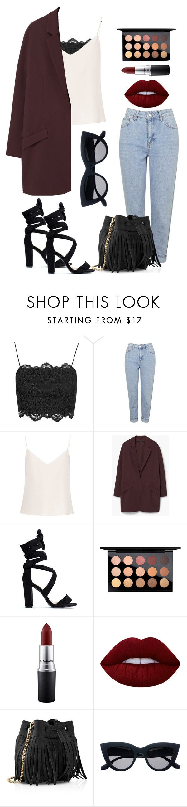 """Street Style"" by jaimeowen on Polyvore featuring Topshop, Raey, MANGO, MAC Cosmetics, Lime Crime and Whistles"