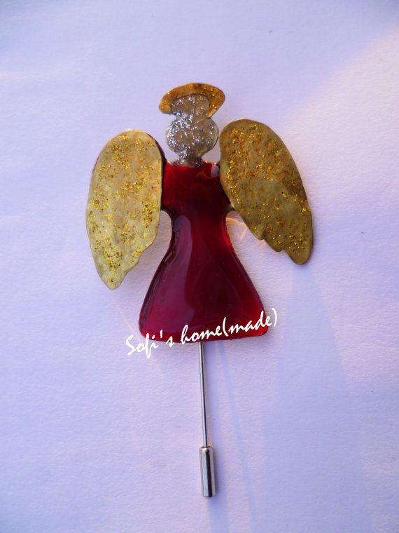 Handmade alpaca and brass enamel angel brooch with fused glass & glitter