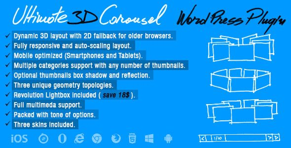 nice Ultimate 3D Carousel Wordpress Plugin (Galleries)