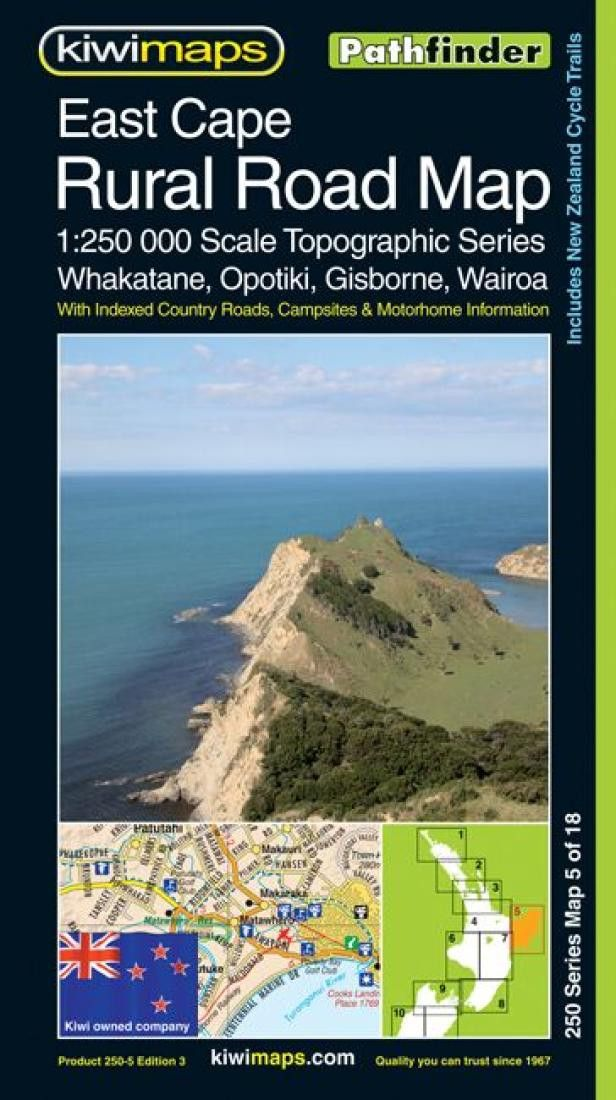 East Cape, New Zealand, Rural Roads Topographic Map by Kiwi Maps