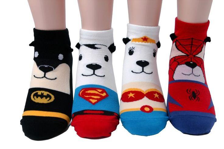 Dog Animal Hero Character Socks 4Pairs Color Women Unisex Kids Cute Funny Gift #GGORANGNAE #Casual #CharacterSocks #women #Kid #Girl #Lady #Funny #Novelty #Pattern