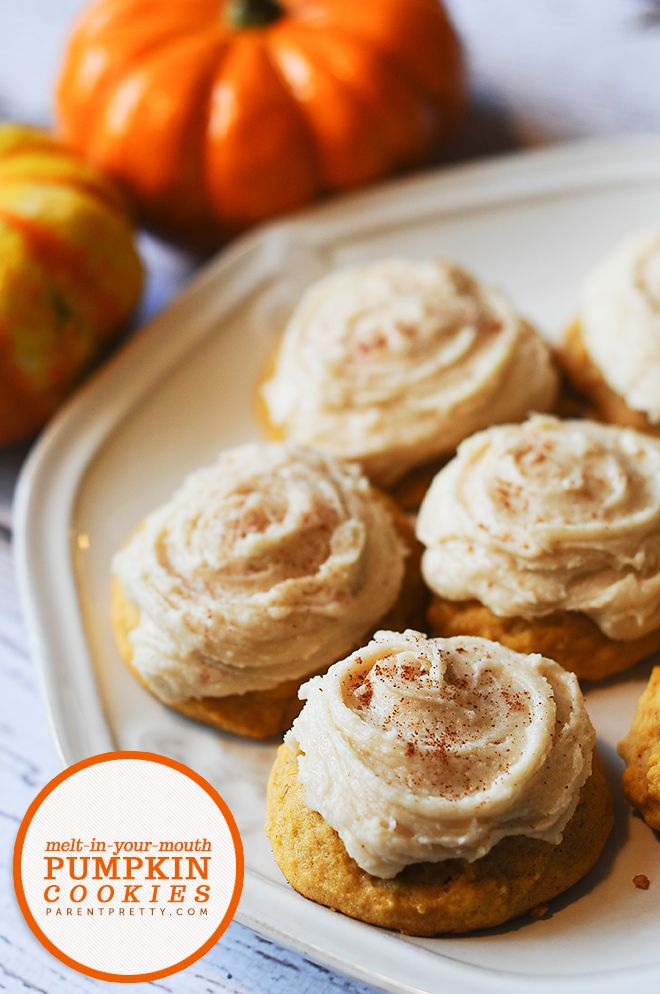 Melt-in-your-mouth Pumpkin Cookies - These pumpkin cookies are OUT OF THIS WORLD. Soft, luscious pumpkin cookies with the perfect frosting.
