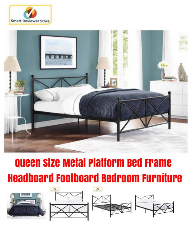 Queen Size Metal Platform Bed Frame Headboard Footboard Bedroom